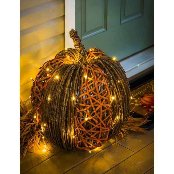 Lighted Vine Pumpkin Decorative Accent by The Holiday Aisle