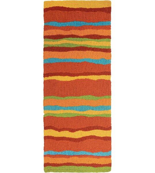 Jakes Fiesta Stripes Hand-Hooked Rust Indoor/Outdoor Area Rug by Winston Porter