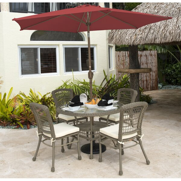 Carolina Beach 5 Piece Sunbrella Dining Set with C