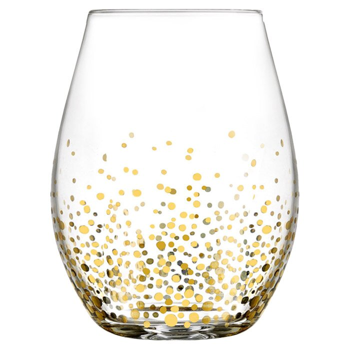 Gold Luster Stemless Wine Glass