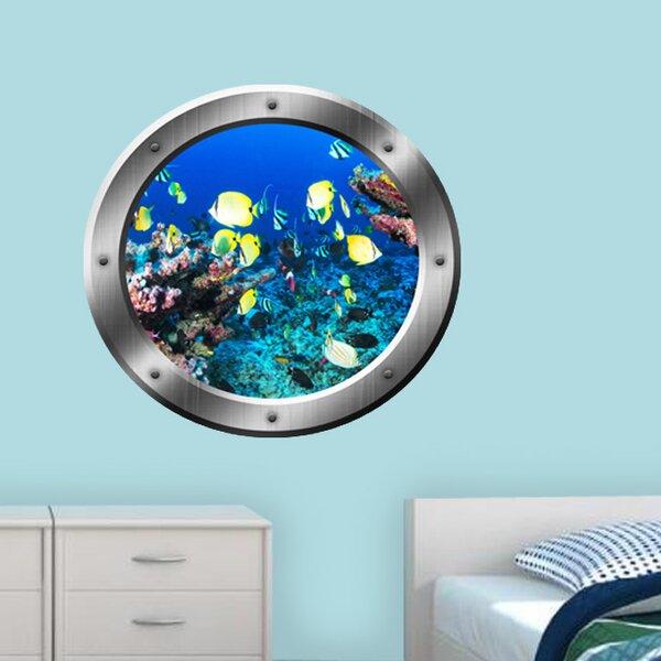 Scuba Diver underwater porthole wall sticker 002