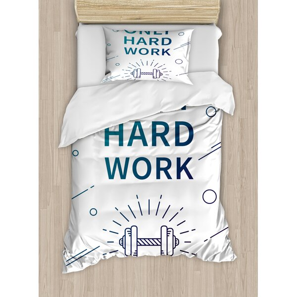 Only Hard Work Positive Sports Affirmation Phrase and Dumbbell Inspirational by East Urban Home