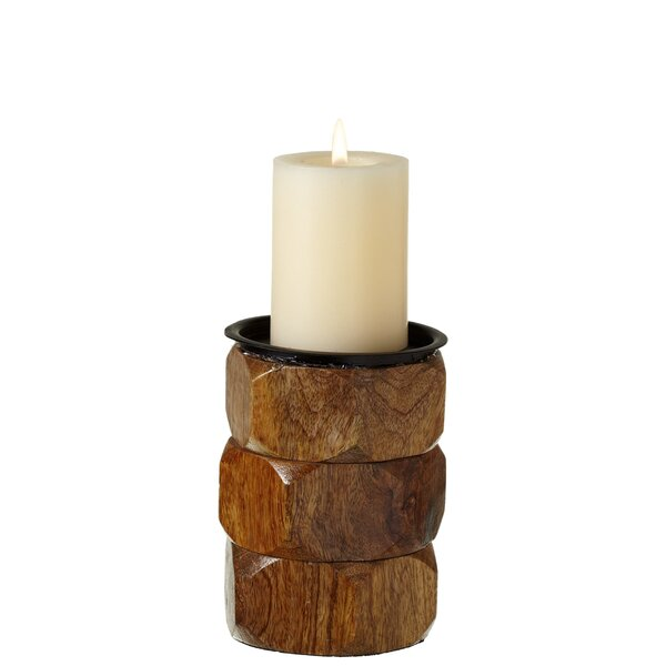 Stacked Hexagon Pillar Candle Holder by Union Rustic