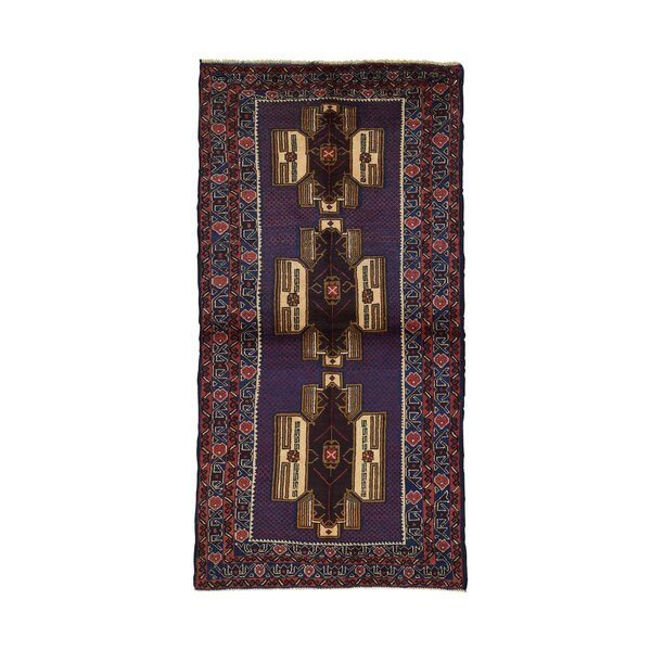 One-of-a-Kind Gaitan Afghan Baluch Geometric Oriental Hand-Knotted Blue Area Rug by World Menagerie