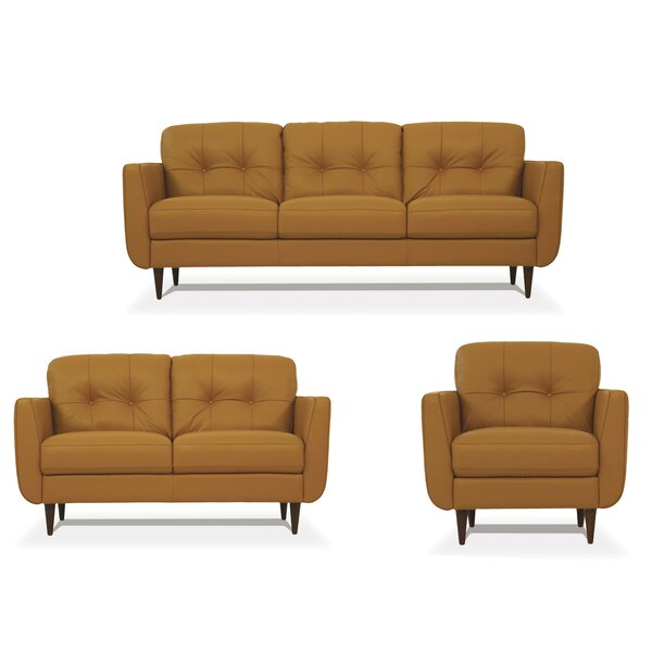 Review Rideout 3 Piece Leather Living Room Set