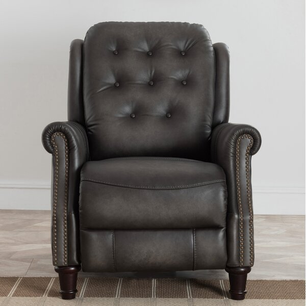 Leilla Premium Hand Rubbed Top Grain Tufted Leather Power Recliner by Canora Grey