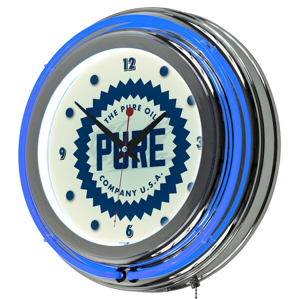 Pure Oil Wordmark Neon 14.5 Wall Clock by Trademark Global