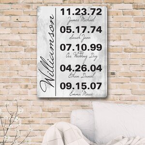 Memorable Dates in Life Textual Art on Canvas by JDS Personalized Gifts