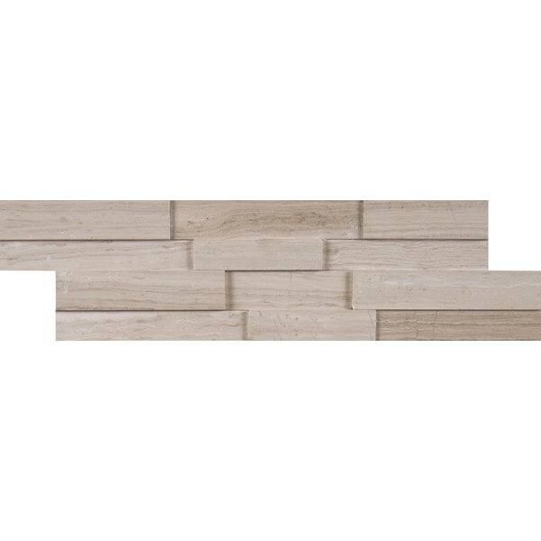 White Oak 3D Marble Mosaic Tile in White by MSI