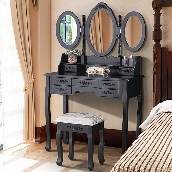 Hanceville Vanity Set with Mirror by House of Hampton