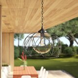 """Wyckoff Blackened Oil Rubbed Bronze 1 -Bulb 15"""" H Plug-in Outdoor Pendant"""