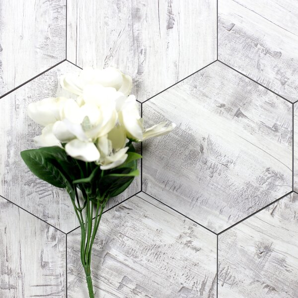Nature 8 x 8 Glass Hexagon Tile in Birchwood Gray/Creme by Abolos