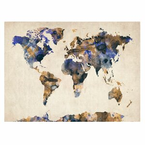 'Watercolor Map 3' by Michael Tompsett Framed Painting Print on Wrapped Canvas by Trademark Fine Art