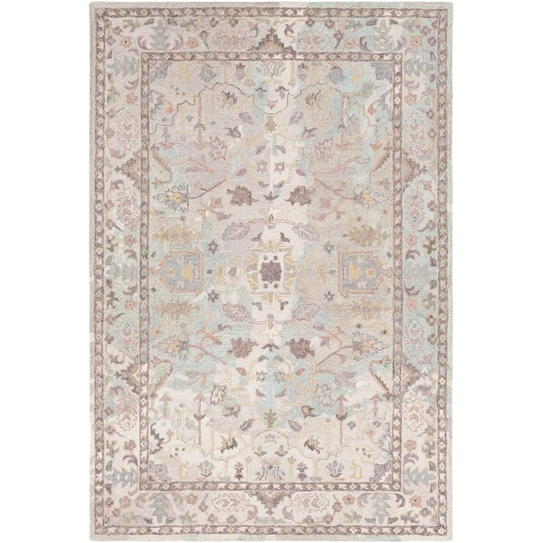 Kendall Green Hand Hooked Wool Khaki/Cream Area Rug by Bungalow Rose