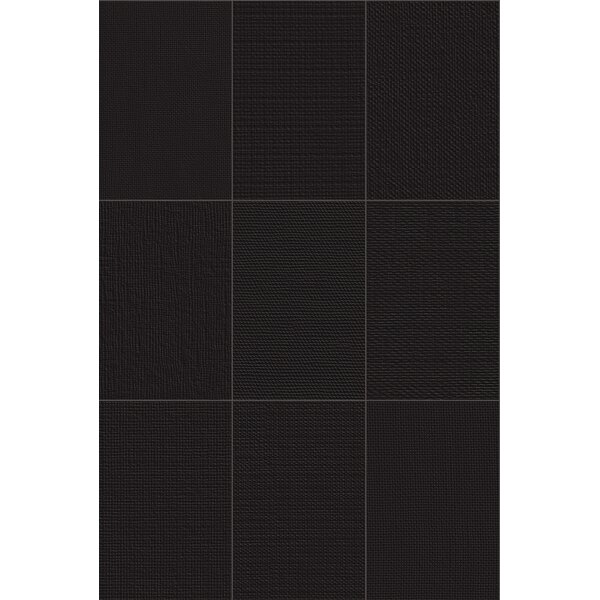 Makar Italian 4.75 x 7 Ceramic Fabric Look/Field Tile in Black by The Bella Collection