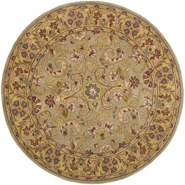 Cranmore Green/Gold Floral Area Rug by Charlton Home