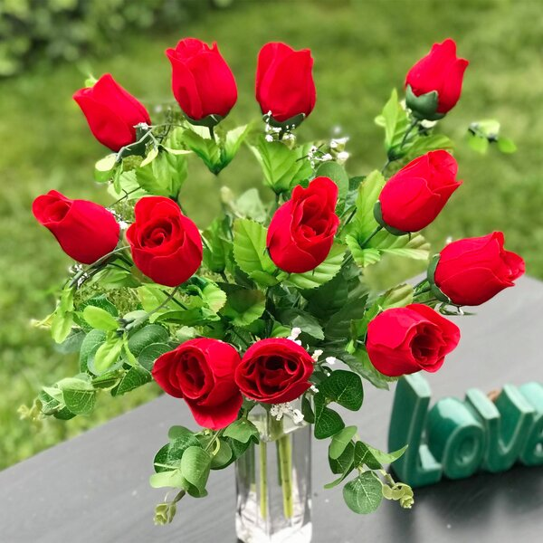 Artificial Red Rose Floral Arrangement in Vase by Charlton Home