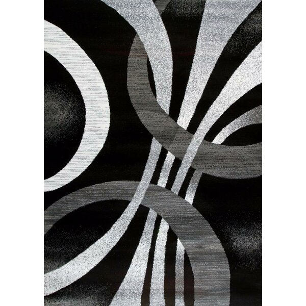 Cockfosters Modern Abstract Gray/Black Area Rug by Orren Ellis