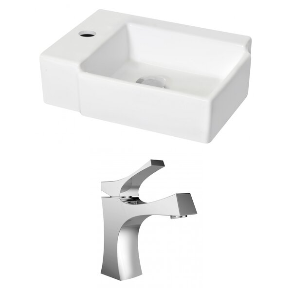 Ceramic 12 Wall Mount Bathroom Sink with Faucet and Overflow by Royal Purple Bath Kitchen