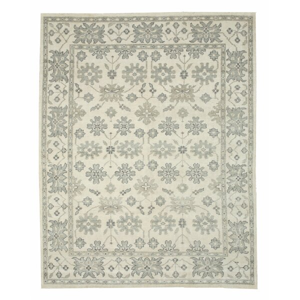 Hand Knotted Ivory Area Rug by Meridian Rugmakers