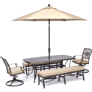 Botkin 5 Piece Dining Set with Umbrella By Three Posts