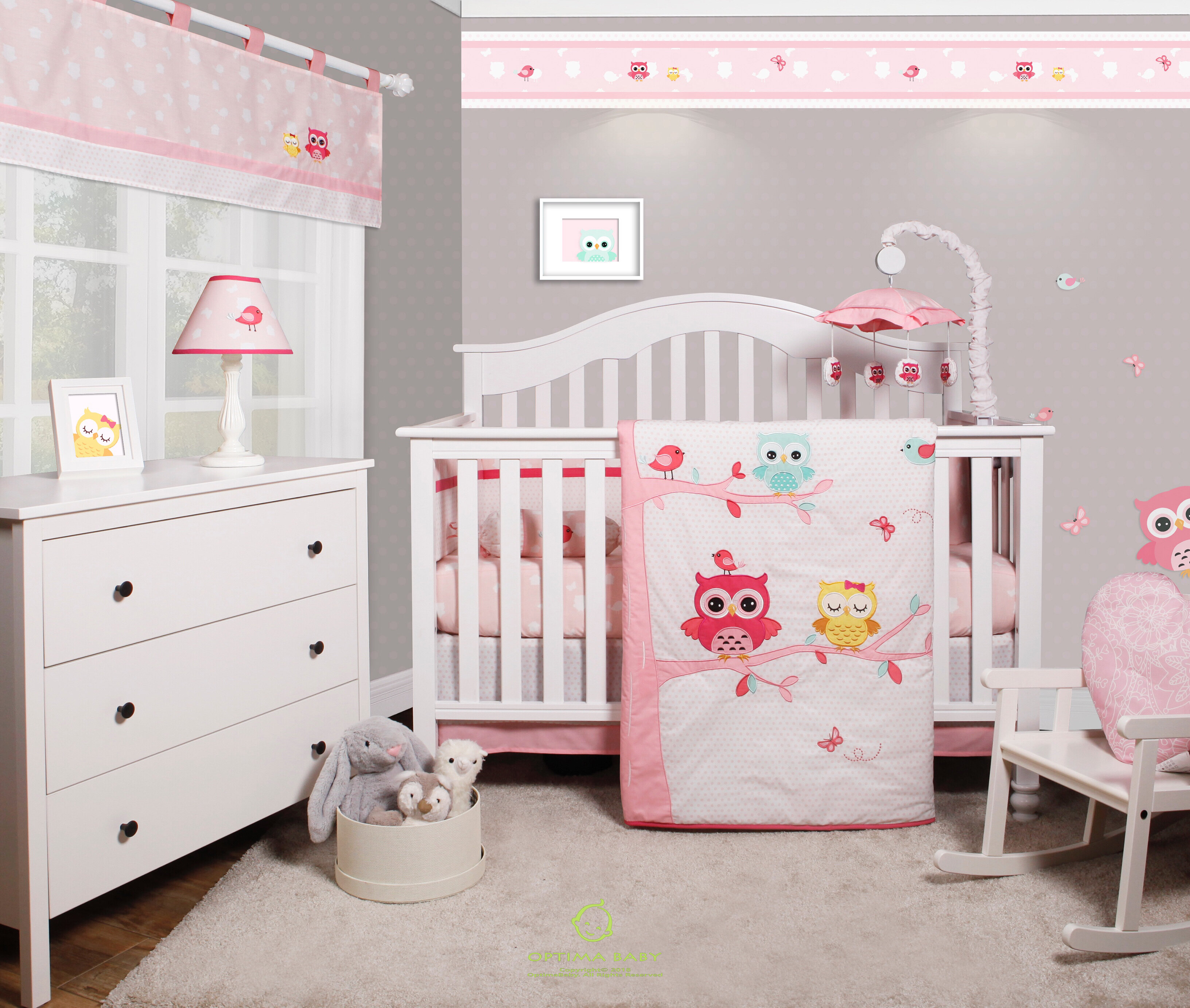 Doncaster Enchanted Owls Family Baby Girl Nursery 6 Piece Crib Bedding Set