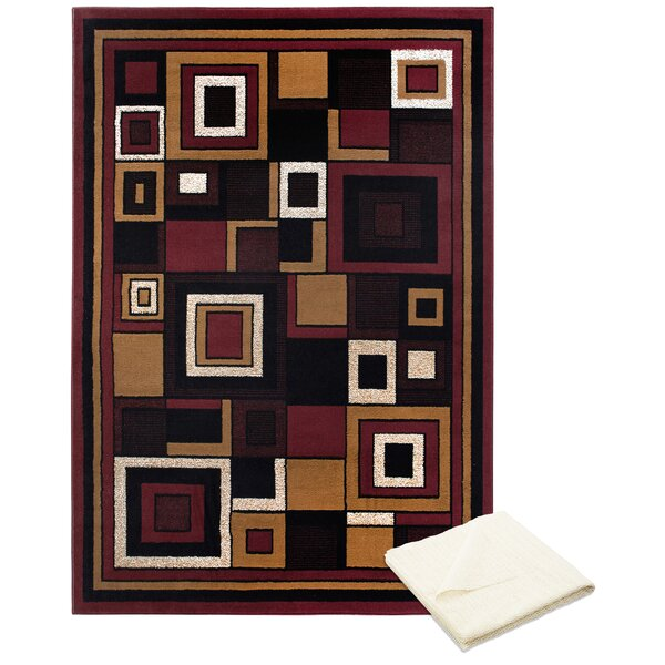 Bear Blocks Red/Brown Area Rug with Rug Pad by Ebern Designs