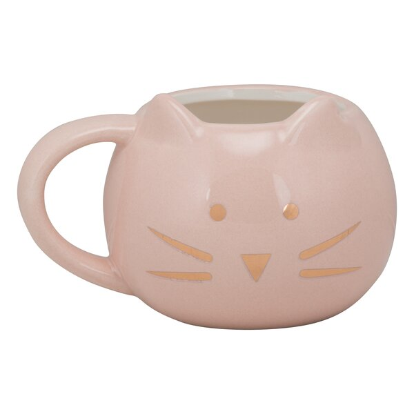Ziaa Front Facing Ears Cat Face Mug by Latitude Ru