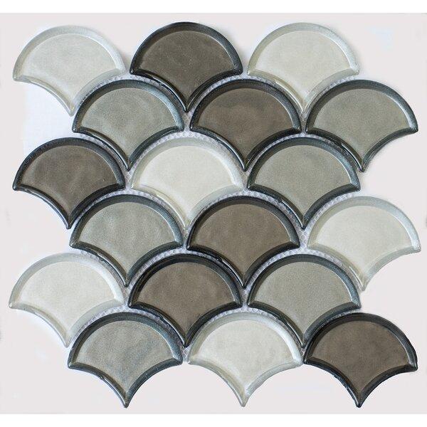 Fan Glass Mosaic Tile in Silver Gray by Byzantin Mosaic