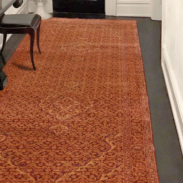 One-of-a-Kind Feltner Tabriz Mahi Hand-Knotted Silk Orange Area Rug by World Menagerie