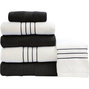 stripe and contrast 6 piece towel set blackwhite