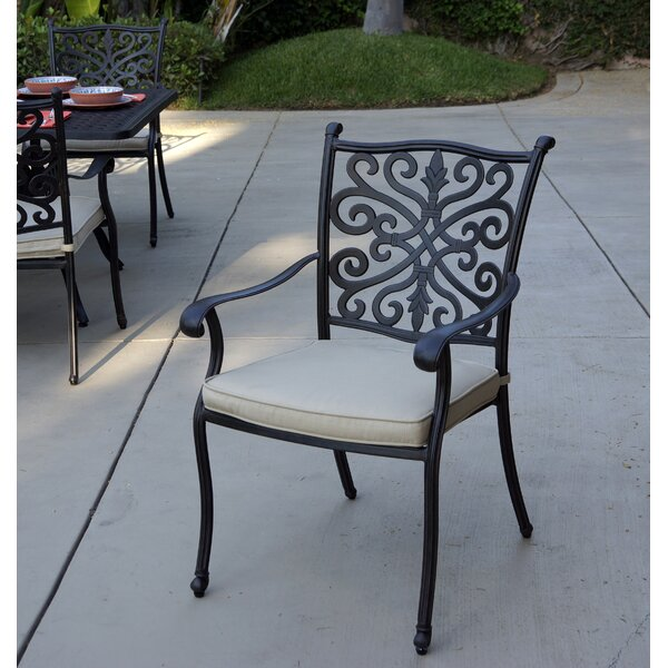 Shortwood Stacking Patio Dining Chair with Cushion (Set of 4) by Canora Grey