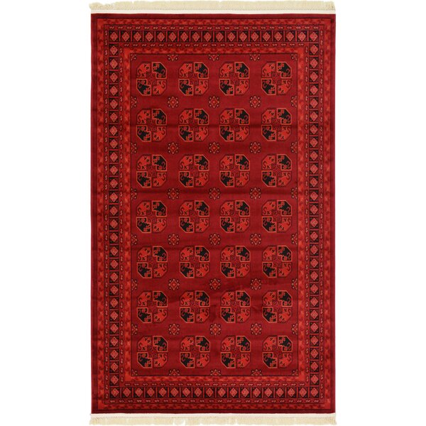 Kowloon Red Area Rug by World Menagerie