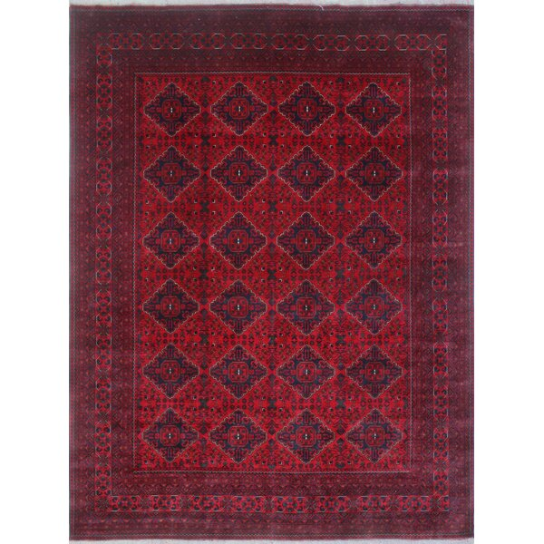 Linda Hand Knotted Wool Rectangle Red Area Rug by World Menagerie