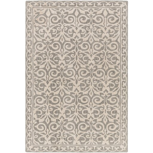 Bastien Hand-Hooked Gray Area Rug by One Allium Way