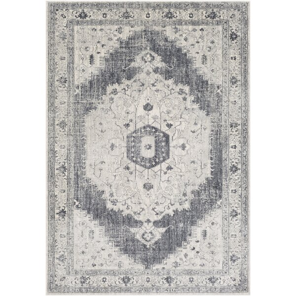 Lillo Distressed Vintage Gray/Ivory Area Rug by Bungalow Rose