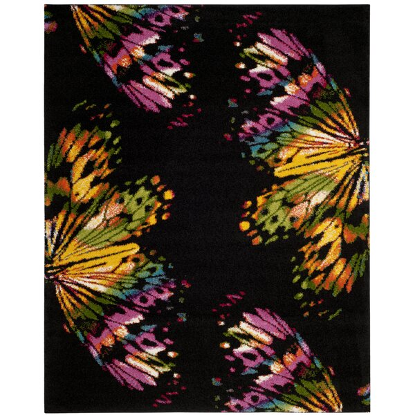Cleveland Black/Yellow Area Rug by Ebern Designs