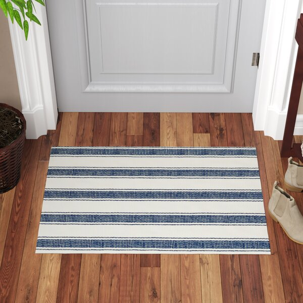 Awning Blue/White Indoor/Outdoor Area Rug by Dash and Albert Rugs