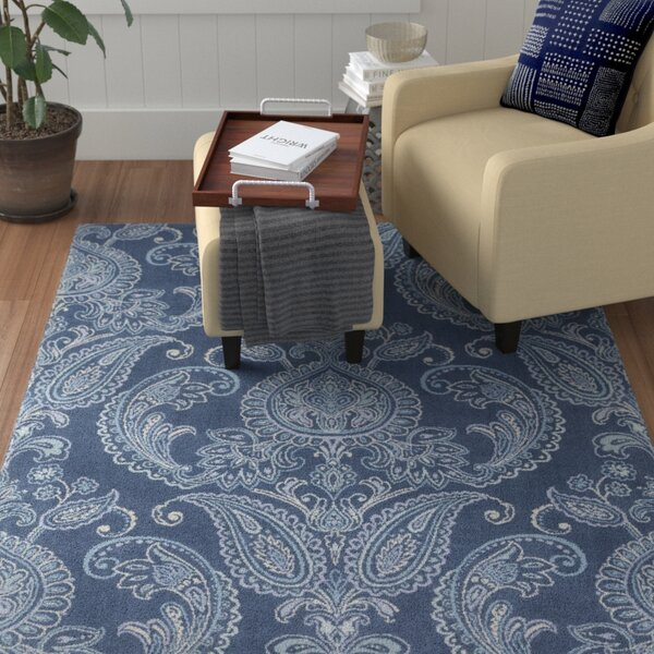 Kittelson Traditional Wool Navy/Aqua Area Rug by Red Barrel Studio