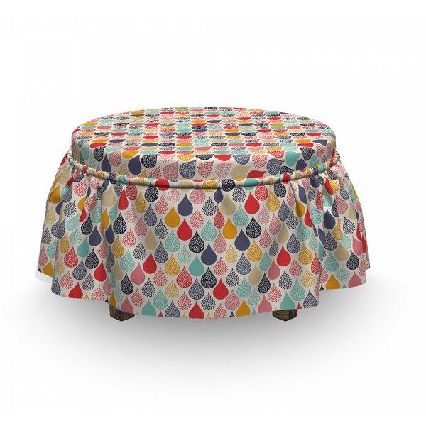 Geometric Doodle Rainbow 2 Piece Box Cushion Ottoman Slipcover Set By East Urban Home