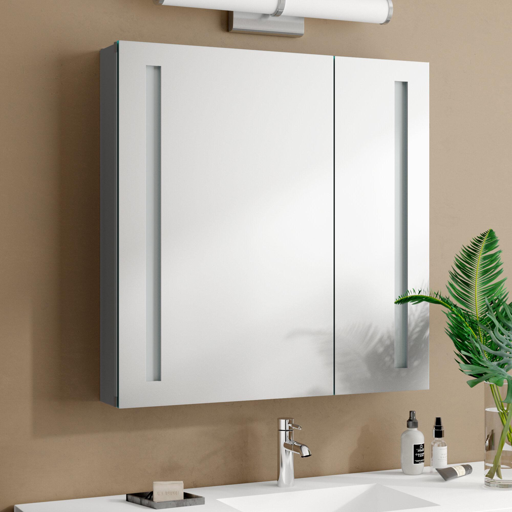 Orren Ellis Dili Recessed Or Surface Mount Frameless 2 Door Medicine Cabinet With 3 Adjustable Shelves And Led Lighting Reviews Wayfair