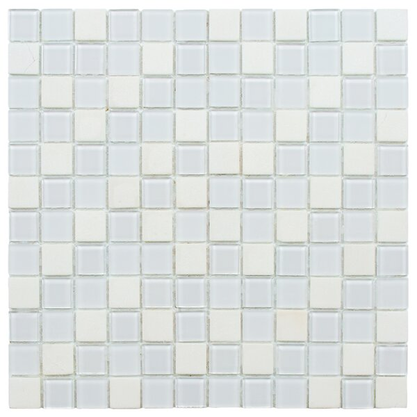 Chroma 0.88 x 0.88 Glass and Natural Stone Mosaic Tile in White by EliteTile
