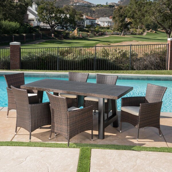 Hudock Outdoor 7 Piece Dining Set with Cushions by Alcott Hill