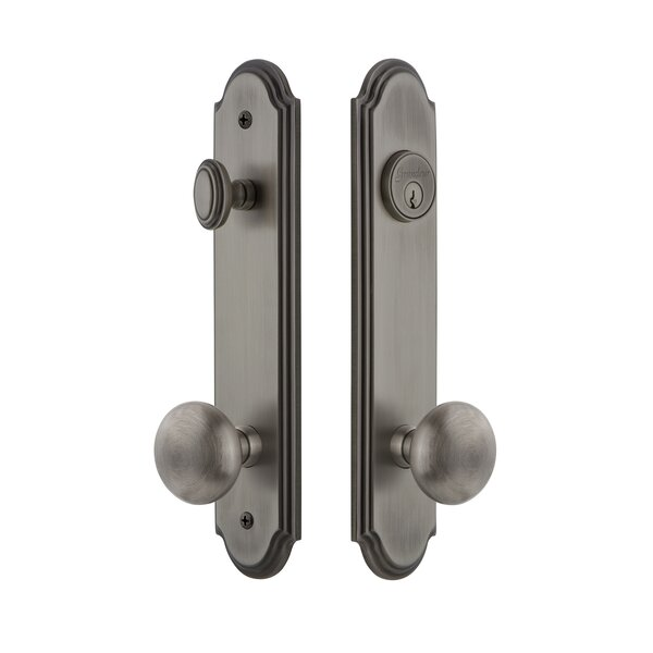 Arc Tall Plate Single Cylinder One Piece Knobset with Knob by Grandeur