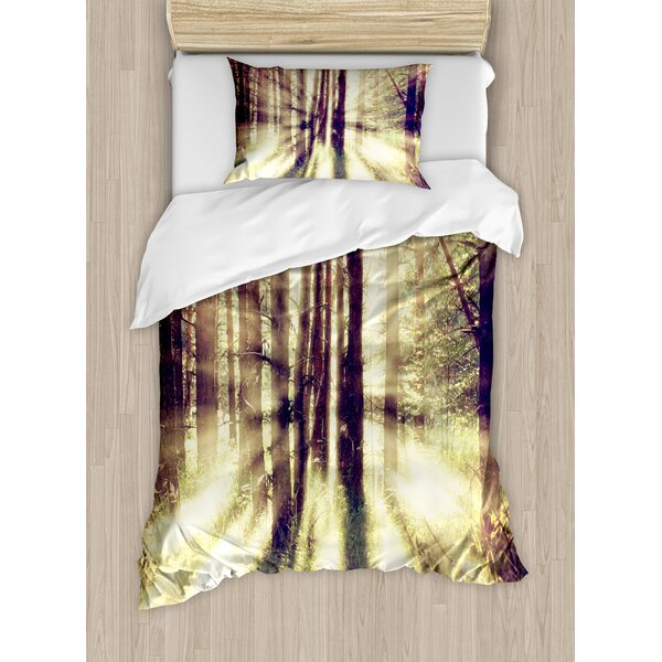Forest Vibrant Vintage Nature Woodland Sun Beaming Through Trees Scenic View Duvet Set by East Urban Home