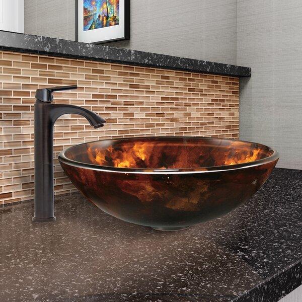 Fusion Glass Circular Vessel Bathroom Sink with Fa