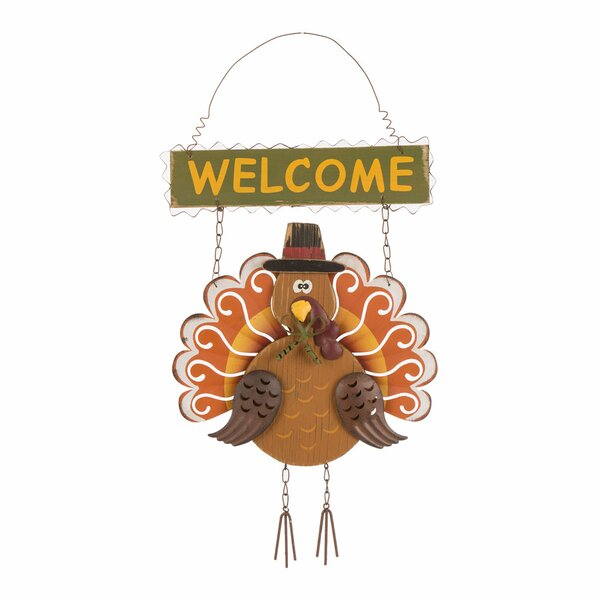 Solid Wood Turkey Welcome Wall Decor by Glitzhome