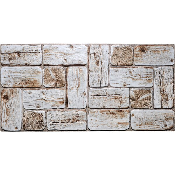 Dundee Deco White Faux Logs 3 2 Ft X 1 6 Ft Pvc 3d Wall