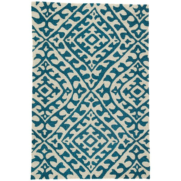 Devereaux Hand Hooked Cream/Teal Indoor/Outdoor Area Rug by Bungalow Rose