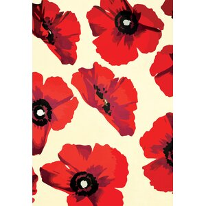'Modern Poppies Floral' Graphic Art Print on Canvas by Zipcode Design